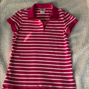 Lacoste polo pink striped